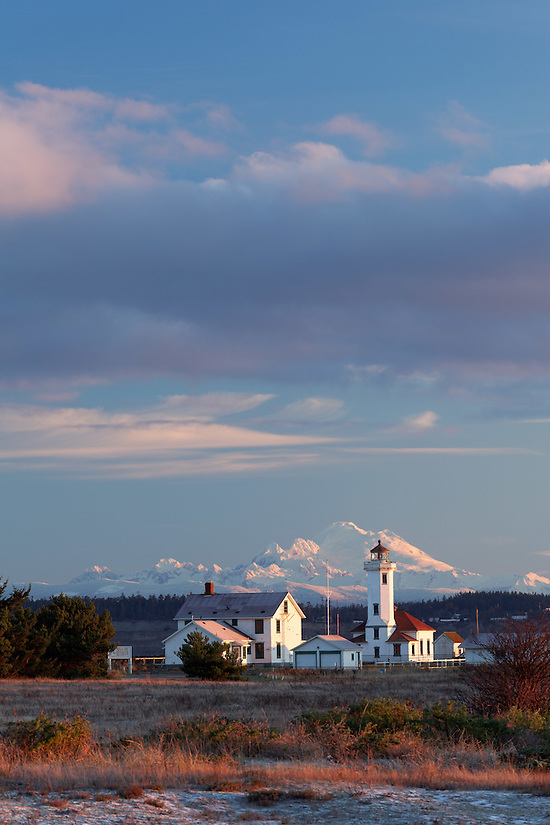 Point Wilson Lighthouse and Mount Baker at sunrise, Fort Warden State Park, Port Townsend, Washington, USA (Brad Mitchell)