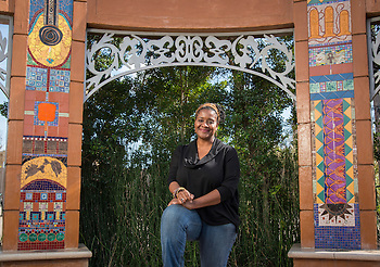 "Lamar High School graduate and artist Marsha Dorsey Outlaw poses for a photograph at her installation ""Vigango's Stoop"", January 29, 2015. (Houston ISD/Dave Einsel)"