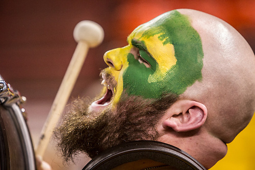 """Seawolf Thunder"" member, Chaz Hart, performs at the UAA Women's Basketball game during the Great Alaska Shootout at Sullivan Arena, Anchorage, Alaska (Clark James Mishler)"
