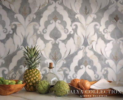 Rumi, a stone waterjet mosaic  shown in Palisandra veincut and Snow White, is part of the Talya Collection by Sara Baldwin for Marble Systems. (Picasa)