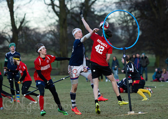 08 MAR 2015 - NOTTINGHAM, GBR - Radcliffe Chimeras' Tom Heynes shoots during the 2015 British Quidditch Cup final against Southampton Quidditch Club  at Woollaton Hall and Deer Park in Nottingham, Great Britain. 24 teams took part in the championships which were won by Southampton Quidditch Club 1 who beat reigning European Cup holders Radcliffe Chimeras 120-90 (PHOTO COPYRIGHT © 2015 NIGEL FARROW, ALL RIGHTS RESERVED) (NIGEL FARROW/COPYRIGHT © 2015 NIGEL FARROW : www.nigelfarrow.com)
