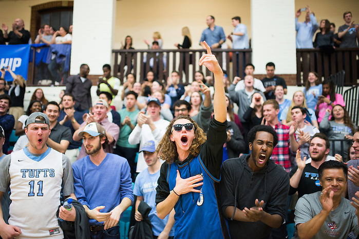 3/11/16 – Medford/Somerville, MA – Fans celebrate the Jumbos' victory in the NCAA Sweet 16 tournament game against Johnson and Wales University on Friday, March 11, 2016. (Evan Sayles / The Tufts Daily) (Evan Sayles / The Tufts Daily)