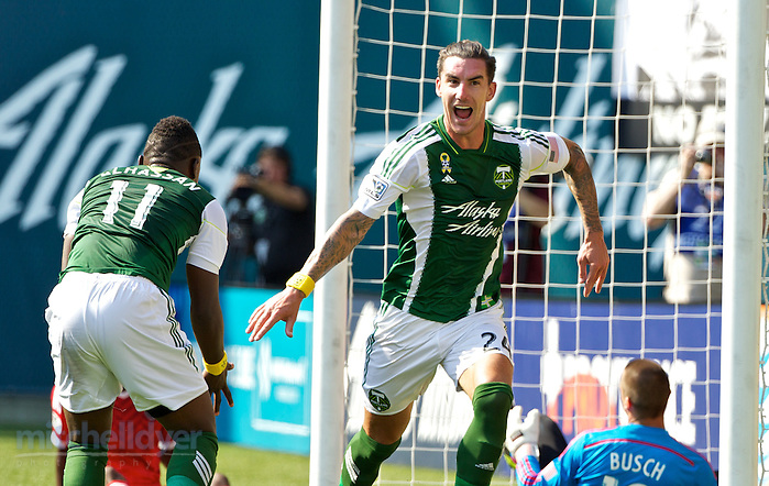 September 7, 2014; Portland, OR, USA; Portland Timbers defender Liam Ridgewell (24) reacts after scoring a goal at Providence Park. Photo: Craig Mitchelldyer-Portland Timbers (Craig Mitchelldyer, Craig Mitchelldyer)