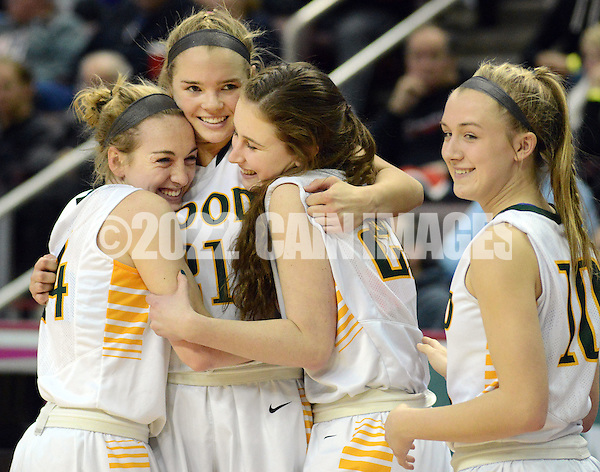 From left, Archbishop Wood's Claire Bassetti, Bailey Greenberg, Erin Morgan and Emma Stanfield celebrate after defeating Villa Maria to win the girls basketball PIAA Class AAA state championship Saturday March 19, 2016 at the Giant Center in Hershey, Pennsylvania (Photo By William Thomas Cain) (William Thomas Cain/Cain Images)