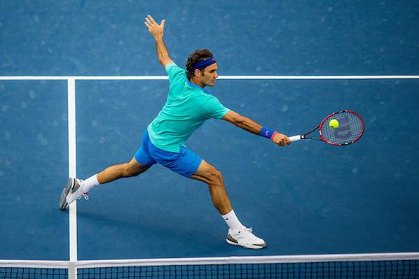Roger Federer, 2014 U.S. Open Men's Semifinal. Photographed at the Billie Jean King National Tennis Center in Queens, NY, USA 9/6/2014. © 2014 Darren Carroll (Darren Carroll/Sports Illustrated)