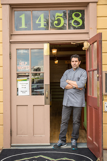 """The building has sold and the new owners want to upgrade...I need to find a new location.""   - Edwardo Yanez, owner, Plisades Deli Cafe, stands in the door of his shop in downtown Calistoga (Clark James Mishler)"