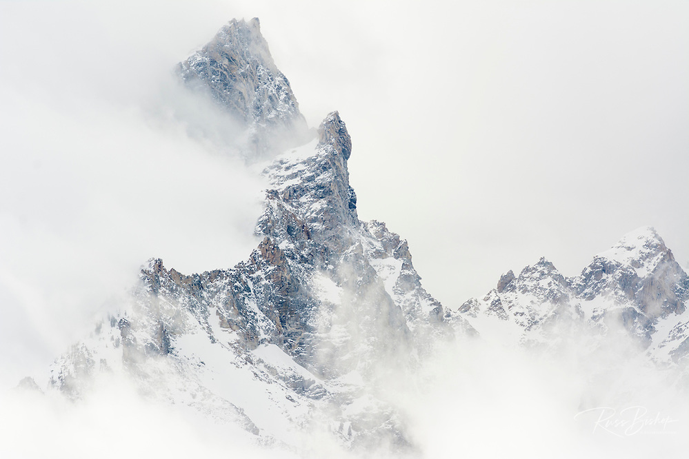 Clearing winter storm over Teewinot Mountain, Grand Teton National Park, Wyoming
