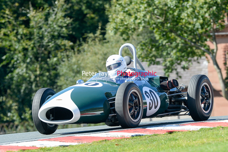 #30 Trevor Griffiths, Emeryson FJ during Historic Formula Junior (Rear Engined) Qualifying at Oulton Park, Little Budworth, Cheshire, United Kingdom. August 23 2014. World Copyright Peter Taylor. Copy of publication required for printed pictures. Every used picture is fee-liable. http://archive.petertaylor-photographic.co.uk (Peter Taylor)