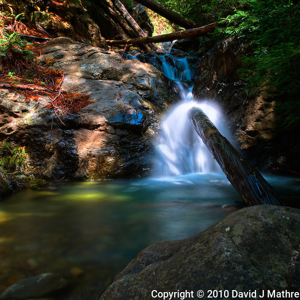 Redwood Gulch Waterfall, HDR Exercise. Image(s) taken with a Nikon D3x and 24 mm f/3.5 PC-E lens Singh-Ray filters (ISO 100, 24 mm, f/16, 2.5 to 30 sec). Raw image processed with Capture One Pro, HDR Express: Vivid. (David J Mathre)