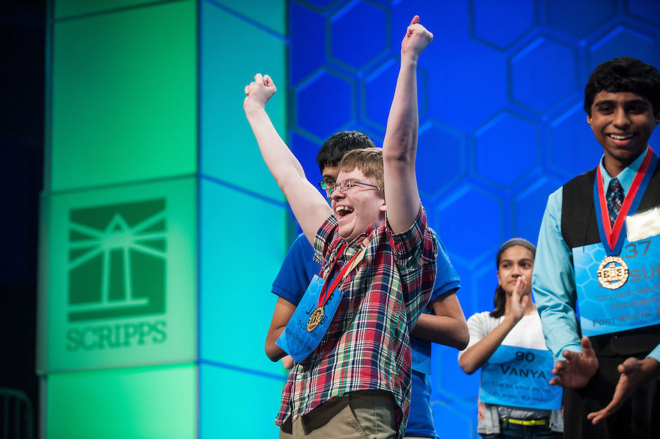 Jacob Williamson, 15, of Cape Coral, Florida, after it is announced that he would be advancing to the final of the Scripps National Spelling Bee on May 29, 2014 at the Gaylord National Resort and Convention Center in National Harbor, Maryland. (Pete Marovich/UPI)