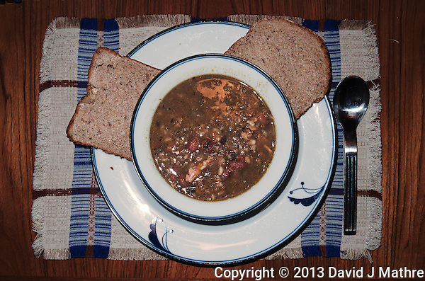 Stone Soup and Hearty Rye & Whole Wheat Bread. Image taken with a Leica X2 camera (ISO 100, 24 mm, f/8, 1/60, pop-up flash) (David J. Mathre)