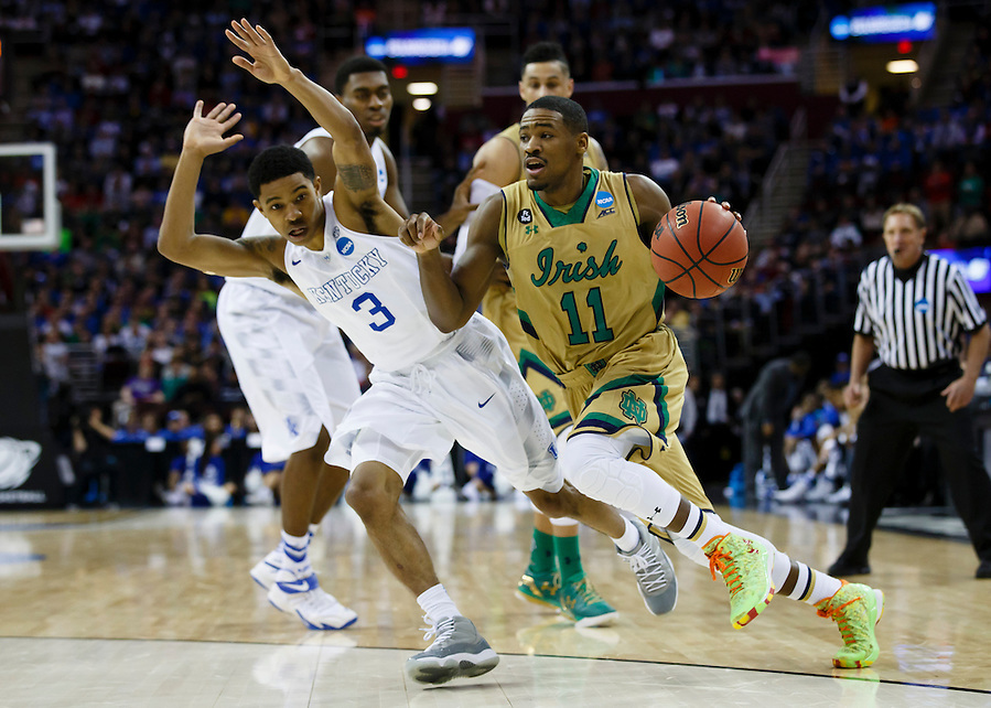 Mar 28, 2015; Cleveland, OH, USA; Notre Dame Fighting Irish guard Demetrius Jackson (11) dribbles against the Kentucky Wildcats in the finals of the midwest regional of the 2015 NCAA Tournament at Quicken Loans Arena. Mandatory Credit: Rick Osentoski-USA TODAY Sports (Rick Osentoski/Rick Osentoski-USA TODAY Sports)