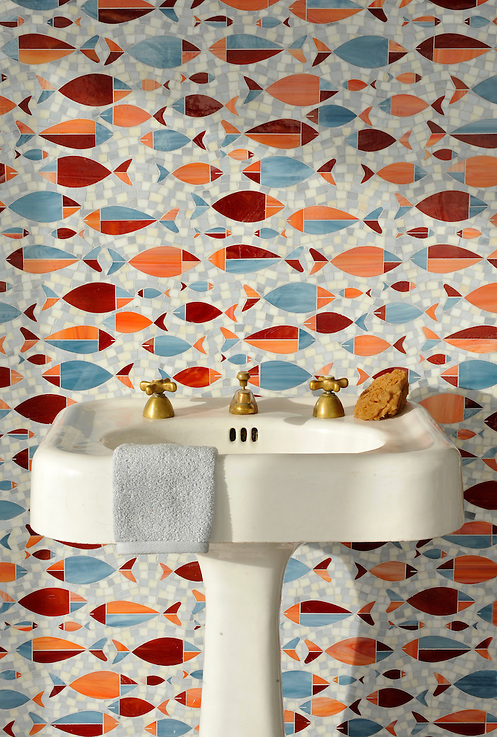 Floating Fish, a water jet jewel glass mosaic shown in Mica, Sardonyx, Garnet, Pearl, and Quartz, is part of the Erin Adams Collection for New Ravenna Mosaics. (Picasa)