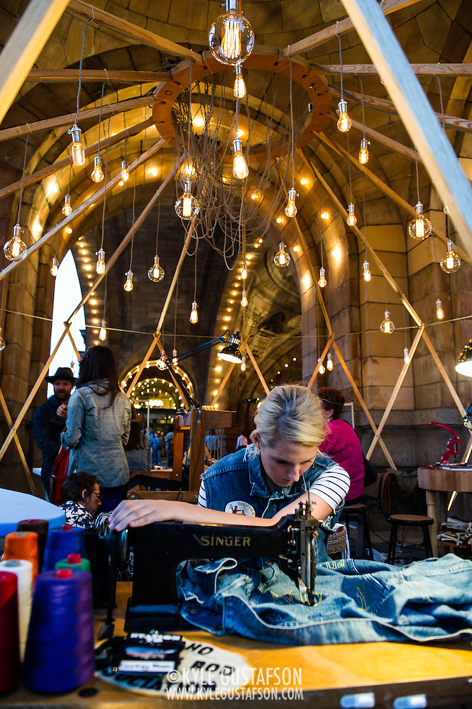 Seamstresses and artisans make their goods at the Station to Station tour, an artist-driven public art project made possible by Levi's. (Kyle Gustafson/Photo by Kyle Gustafson)