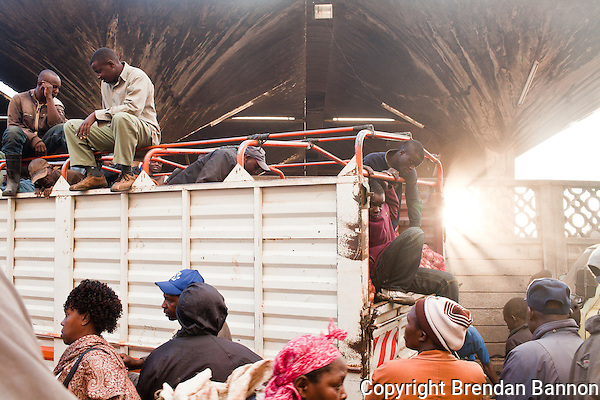 A truck full of onions arrives at  the main produce market in Nairobi, Kenya. (Photographer: Brendan Bannon)