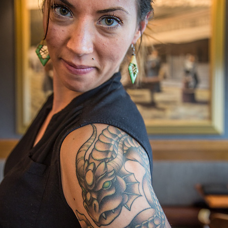 "Nash Marcum at Simon and Seaforts, Anchorage.  So are you the woman with the dragon Tattoo?  ""Yes, I get that alot."" nash3312@gmail.com (© Clark James Mishler)"