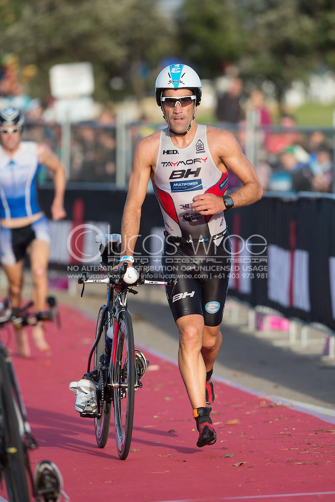 Eneko LLANOS (ESP). Ironman Asia Pacific Championship Melbourne. Triathlon. Frankston And St Kilda, Melbourne, Victoria, Australia. 24/03/2013. Photo By Lucas Wroe (Lucas Wroe)