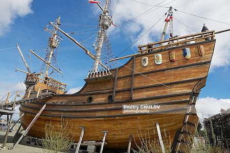 Punta Arenas, Chile - October 28, 2013: Nao Victoria, Magellan's ship replica in Punta Arenas, Chile. (Dmitry Chulov)