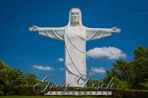 Christ of the Ozarks statue is a  7-story tall, 2 million pound, white concrete statue of Jesus known as Christ of the Ozarks, erected privately in 1966 as part of a planned religious theme park. The statue sits across the valley from the downtown area and is visible from many points in the immediate area. (Greg Disch)