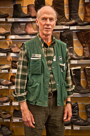 Jerry Garden, shoe department sales person, REI, Anchorage (Clark James Mishler)