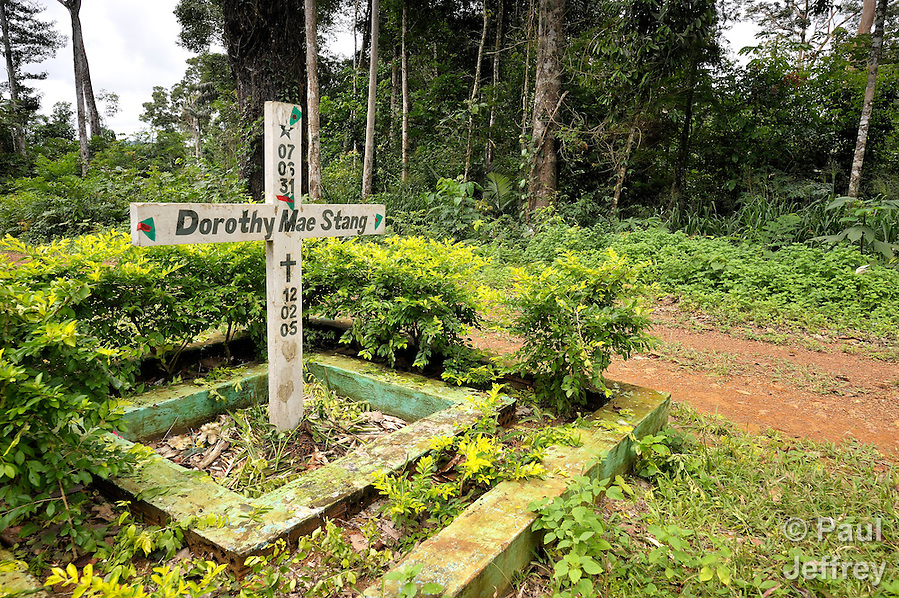 A cross marks the spot where Sister Dorothy Stang was murdered in the Esperança Sustainable Development Project, a pioneering jungle community in northern Brazil. Her body lay in the rain for hours, her blood soaking into the soil of the Amazon she tried so hard to save. (Paul Jeffrey, Paul Jeffrey/Paul Jeffrey)