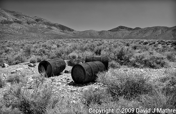 Three Drums in the Desert at Eureka Mine in Death Valley National Park, California. Image taken with a Nikon D3x and 45 mm f/2.8 PC-E lens (ISO 100, 45 mm, f/16, 1/6 sec). Image converted to B&W with Nik Silver Efex Pro (David J. Mathre)
