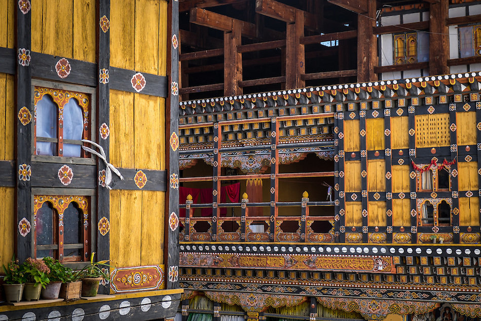 PARO, BHUTAN - CIRCA October 2014: Architectural detail inside the Paro Rinpung Dzong, a landmark in Paro, Bhutan (Daniel Korzeniewski)