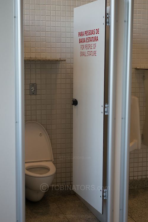 """Toilet cubicle saying """"for people of small stature"""" in the Santos Dumont airport, Rio de Janeiro, Brazil. Photo by Andrew Tobin/Tobinators Ltd (Andrew Tobin/Tobinators)"""