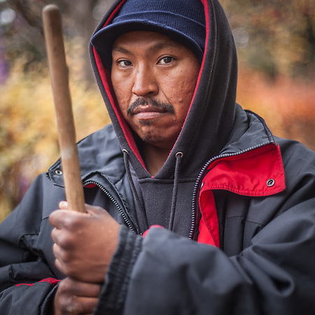 Day laborer and expert leaf raker, Walter Starbuck, Anchorage (© Clark James Mishler)