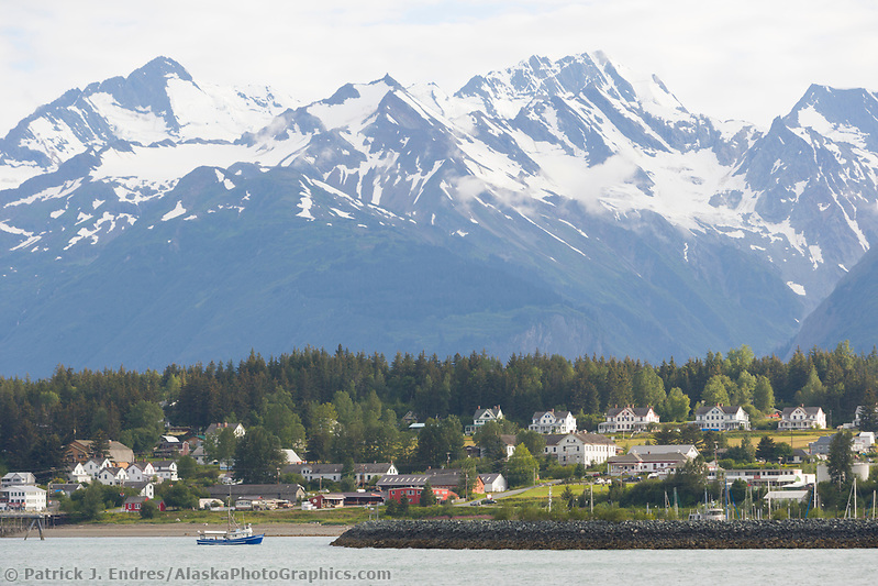 Coastal town of Haines, Alaska, at the end of the Lynn Canal, inside passage. (Patrick J. Endres / AlaskaPhotoGraphics.com)