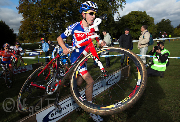 03 NOV 2012 - IPSWICH, GBR - Steven James (GBR) of Great Britain clears a hurdle during the Under 23 Men's European Cyclo-Cross Championships in Chantry Park, Ipswich, Suffolk, Great Britain (PHOTO (C) 2012 NIGEL FARROW) (NIGEL FARROW/(C) 2012 NIGEL FARROW)