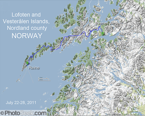 Northern Norway map of driving route over mountainous terrain, bridges, and tunnels from Evenes Airport (EVE) to Reine in the Lofoten and Vesteralen Islands, Nordland county, Norway, Europe (from Google.com). (Tom Dempsey)