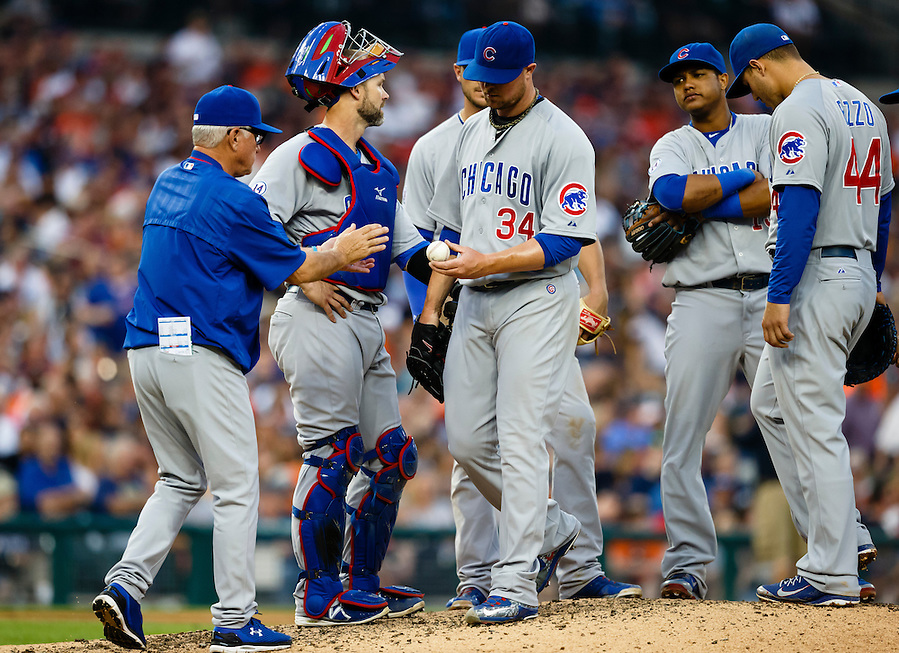 Jun 9, 2015; Detroit, MI, USA; Chicago Cubs manager Joe Maddon (70) takes the ball to relieve starting pitcher Jon Lester (34) in the fifth inning against the Detroit Tigers at Comerica Park. Mandatory Credit: Rick Osentoski-USA TODAY Sports (Rick Osentoski/Rick Osentoski-USA TODAY Sports)