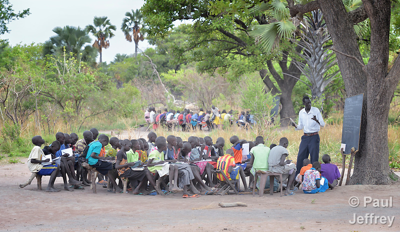 Classes are held outdoors at the Loreto Primary School in Rumbek, South Sudan. The school is run by the Institute for the Blessed Virgin Mary--the Loreto Sisters--of Ireland. (Paul Jeffrey)