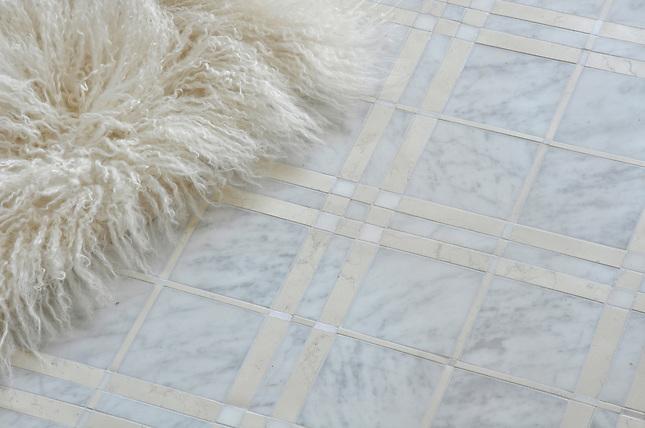 McIntyre shown in Carrara, Bianco Antico, and Heavenly Cream honed. (New Ravenna Mosaics 2012)