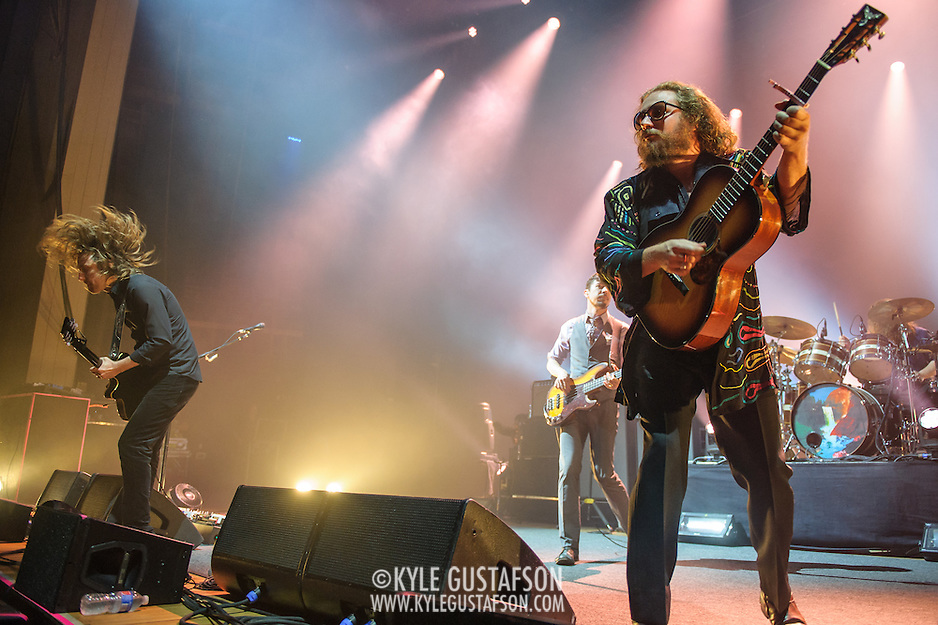 CARL BROEMEL, TOM BLANKENSHIP, JIM JAMES of My Morning Jacket perform at Merriweather Post Pavilion in Columbia, MD. (Photo by Kyle Gustafson) (Photo by Kyle Gustafson)