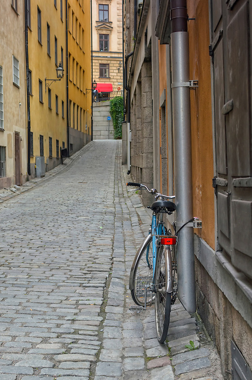 A blue bicycle on a quaint cobblestone street in Gamla Stan, Old Town, Stockholm, Sweden, Europe. (Marianne A. Campolongo/© Marianne A. Campolongo)