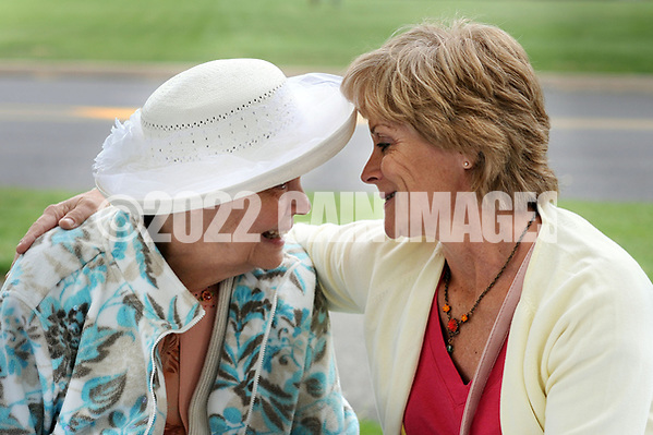 Elizabeth Marion (L) shares a moment with her daughter Marguerite Marnien of Levittown, Pennsylvania during a Mother's Day luncheon on the grounds of Spring Village at Floral Vale for their patients and their families Saturday May 9, 2015 in Yardley, Pennsylvania. (Photo by William Thomas Cain/Cain Images) (William Thomas Cain)