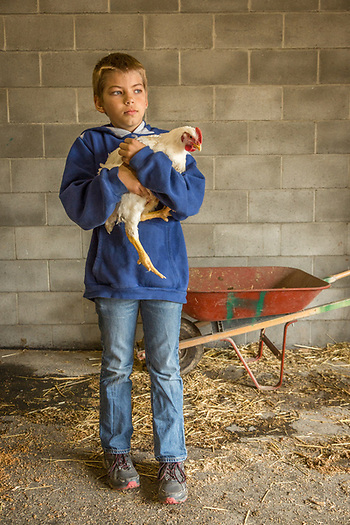 Ten year old Kael Dinwiddie awaits inspeciton of chicken entry at the Alaska State Fair in Palmer, Alaska (Clark James Mishler)