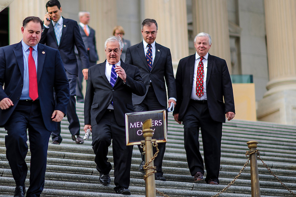 Rep. Barney Frank (D-MA) exits the Capitol with other Members of Congress following a vote on one of his last days as a member of Congress. (Pete Marovich/Pete Marovich Images)