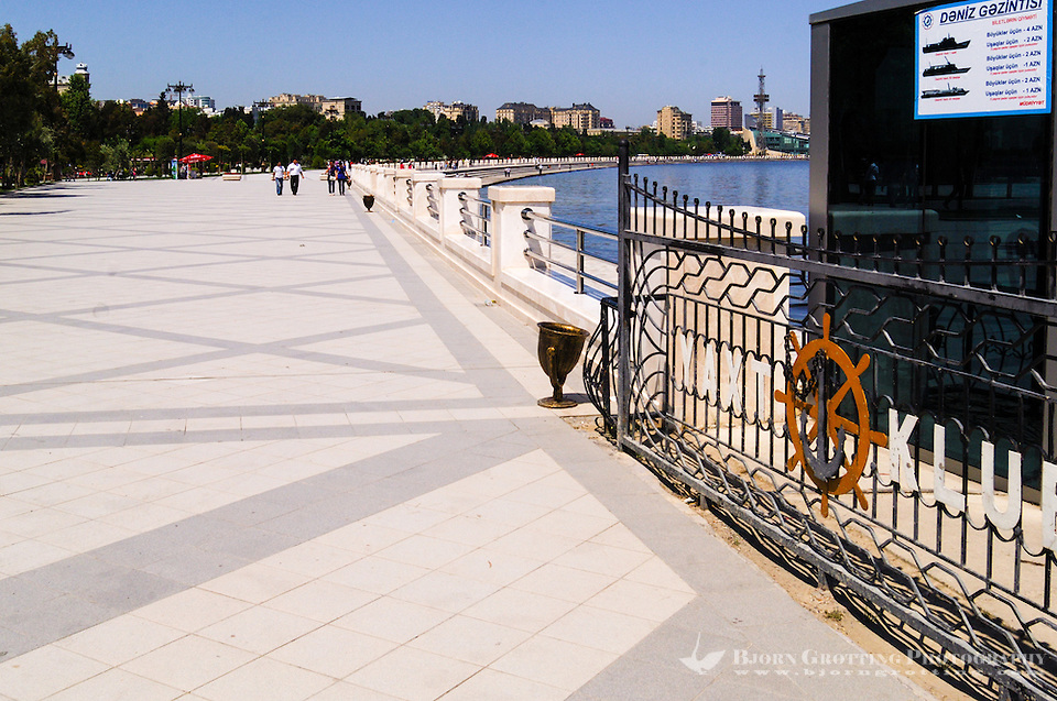 Azerbaijan, Baku. Baku Boulevard is a promenade that runs parallel to Baku's seafront. The yacht club. (Photo Bjorn Grotting)