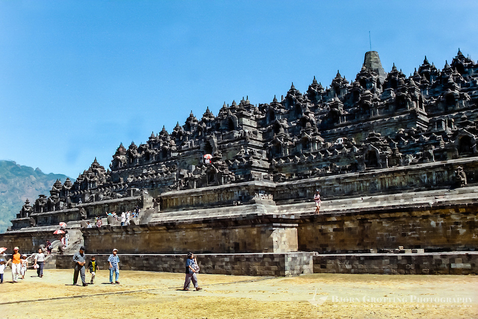 Java, Central Java, Borobodur. Borobudur has six square platforms topped by three circular platforms. A main dome is located at the top center. (Photo Bjorn Grotting)