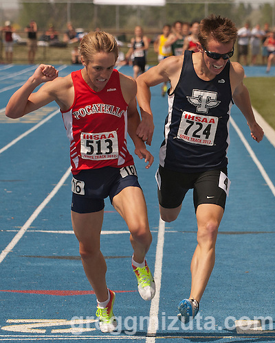 Pocatello freshman Elijah Armstrong edges out Twin Falls senior Erik Harris by 1/100 of a second (4:23.66 vs 4:23.67) to win the 4A 1600 meter title during the 2012 Idaho Track and Field Championships on May 19, 2012 at Middleton High School, Middleton, Idaho. Harris was the 800 and 1600 meter 4A 2011 state champion. Harris ran a  4:09.73 at the Chandler Rotary Invitational 1600 meter run on March 24, 2012 in Chandler, Arizona. This was the fastest 1600 meter time by an Idaho high schooler since Highland's Marty Stroschein ran 4:07.29 on June 6, 1985 at the Golden West Invitational. (Gregg Mizuta)