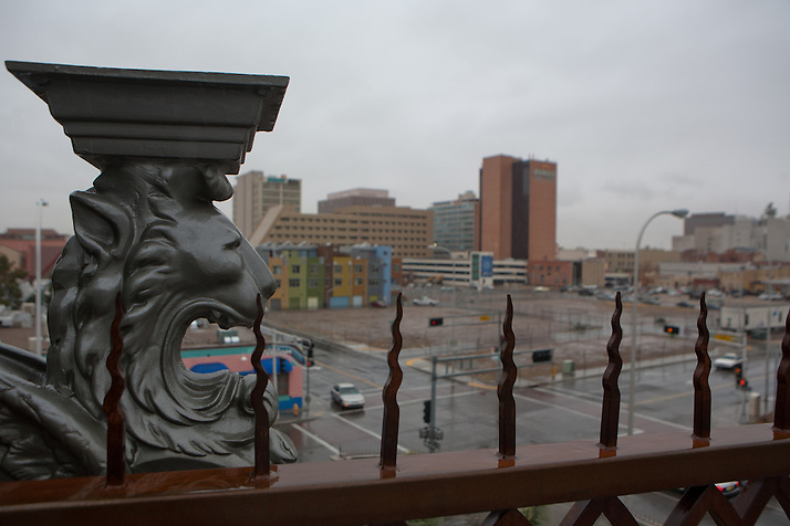 A gargoyle on the top level of Gertrude Zacharys house overlooks downtown Albuquerque New Mexico...((NOTE TO EDITORS: Technically, this is considered a grotesque, as it is a sculpture that does not function as a waterspout and only serves an ornamental function))..CREDIT: Steven St. John for The Wall Street Journal (Steven St. John)