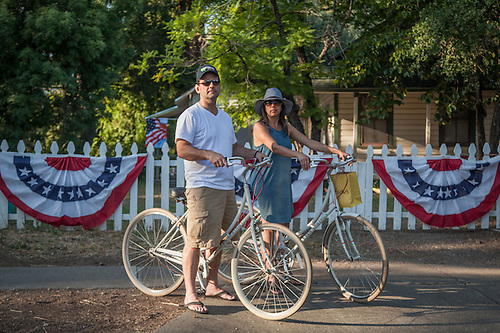 """Calistoga is our favorite getaway.""  -Danville residents and Indian Springs guests Adam and Kim Zuro at the west end of Cedar Street. (Clark James Mishler)"