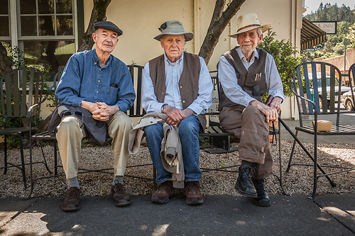 "Friends Peter Dahl, Gary Kay, and Donald Montez hang out together after lunch at the Calistoga Inn.  ""We're retired...now we solve the problems of the world., which is a better place due to our monthly conversations."" (Clark James Mishler)"