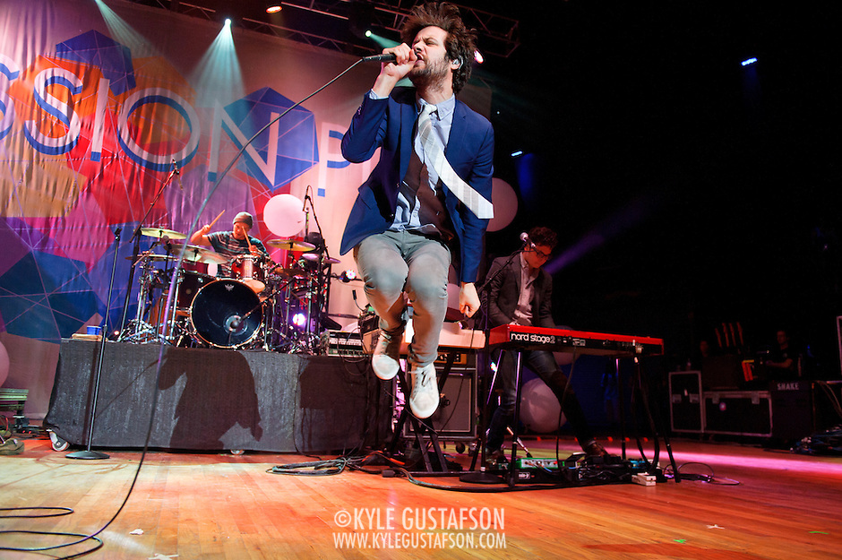 COLUMBIA, MD - May 11th,  2013 -   Jeff Apruzzese, Xander Singh, Michael Angelakos, Nate Donmoyer and Ian Hultquist of Passion Pit perform on the Main Stage at the 2013 Sweetlife Music and Food Festival at Merriweather Post Pavilion in Columbia, MD.  (Photo by Kyle Gustafson/For The Washington Post) (Kyle Gustafson/For The Washington Post)
