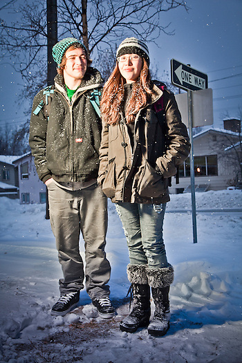 West High School students, Dakota Herrine and Tristen Hazen, E Street at 13th Avenue, South Addition, Anchorage (Clark James Mishler)
