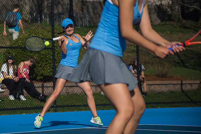 4/1/16 - Medford/Somerville, MA - Zoe Miller hits the ball during the Tufts women's tennis matches against Colby on the Voute Tennis Courts on Apr 1, 2016. (Ray Bernoff / The Tufts Daily) (Ray Bernoff)