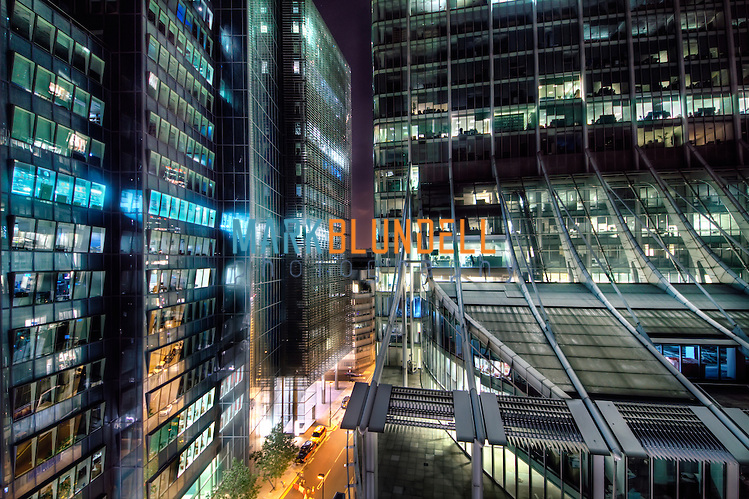 Ropemaker Place vs City Point at night in The City Of London (Mark Blundell)